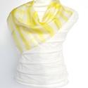Sárga - fehér csíkos selyemkendő, Ruha, divat, cipő, Baba-mama-gyerek, Kendő, sál, sapka, kesztyű, Kendő, Kézzel festett saját tervezésű selyemkendő  Bőrbarát alapanyagok - 100% hernyóselyem   Ponge..., Meska