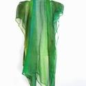 hernyóselyem zöldes árnyalatú  sál, Ruha, divat, cipő, Kendő, sál, sapka, kesztyű, Kendő, Sál, Kézzel festett, színátmenetes selyemsál  Bőrbarát alapanyagok - 100% hernyóselyem   chiffon  ..., Meska