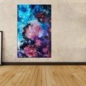 Kozmosz, Dekoráció, Képzőművészet, Kép, Festmény, Festészet, Víz alapú falfesték, falap, szatén lakk. 121x78 cm, Meska