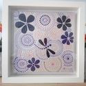 Lila mandala, szitakötős festett kép keretben., Otthon, lakberendezés, Dekoráció, Kép, Falikép, , Meska