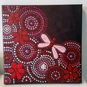 20x20 cm-es bordó mandala szitakötővel, Dekoráció, Otthon, lakberendezés, Kép, Falikép, , Meska