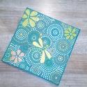 Zöldes csillogó mandala szitakötővel 20x20 cm, Dekoráció, Otthon, lakberendezés, Kép, Falikép, , Meska
