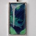 Üveglencsés medál - Kék örvény, Ékszer, Medál, Ékszerkészítés, Üveglencsés medál lánc nélkül. Saját tervezésű és kivitelezésű egyedi darab, az üveglencse alatt sa..., Meska