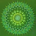 Egészség és bőség mandala , Otthon & lakás, Dekoráció, Kép, Festészet, Mandala meditációs vászonkép 24x24 cm, pontozó festő technikával készült.  A szívcsakra színével a ..., Meska