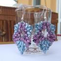 Ayfa fülbevaló, Ékszer, óra, Fülbevaló, Kék és lila színű superduo, cseh csiszolt és préselt üveggyöngyökből, valamint japán kásagyöngyökből..., Meska