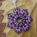 Lila virág medál, Hétszirmú virág, superduó és japán kásagyö...