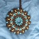 Kétoldalas türkiz/bronz nyaklánc, Ékszer, óra, Nyaklánc, Minőségi üveggyöngyökből készített nyaklánc.  Hossza állítható., Meska