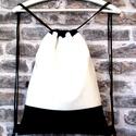 Fekete-fehér hátizsák /tornazsák/gym bag ..., Táska, Válltáska, oldaltáska, Varrás, Fekete és fehér műbőrből készítettem ezt a női hátizsákot. Pamutvászonnal béleltem,ami  egy cipzáro..., Meska