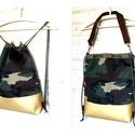 3 in1 militaryhátizsák/válltáska, Táska, Válltáska, oldaltáska, Military mintás vastag és erős vászon,és pezsgő arany műbőrből készítettem ezt a női hátizsákot,amit..., Meska