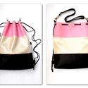 3 in1 Tavasz/variálható táska üde színekben hátizsák/válltáska/gym bag/backpack, Táska, Válltáska, oldaltáska, Nyomott mintás,gyöngyház fényű beige színű,nyomott mintás fekete és rózsaszín  műbőrből készítettem ..., Meska