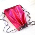 Metál pink hátizsák/tornazsák/festivalbag..., Táska, Válltáska, oldaltáska, Varrás, Metál fényű pink színű, nyomott mintás különösen szép és minőségi műbőrből készítettem ezt a női há..., Meska