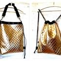 3in1 metál arany hátizsák/válltáska, Táska, Válltáska, oldaltáska, Metál fényű arany műbőrből készítettem ezt a női hátizsákot,amit válltáskaként vagy oldaltáskakét is..., Meska