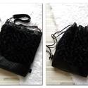 3 in1 műszőrme-hátizsák/válltáska/gym bag/backpack, Táska, Válltáska, oldaltáska, Fekete anyagában mintáa műszőrméből és nyomott mintás fekete műbőrből készítettem ezt a női hátizsák..., Meska