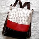 3 in1 mokka hátizsák/válltáska, Táska, Válltáska, oldaltáska, Egy újabb háromfunkciós táskát készítettem. Állítható hosszúságú pántja átcsatolható,így hordható há..., Meska