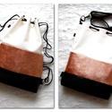 3 in1 csillámos-rosegold hátizsák/válltáska, Táska, Válltáska, oldaltáska, Nyomott mintás fekete,metálfényű rózsaarany,és fehér csillámos,igencsak különleges műbőrből készítet..., Meska