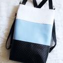 3 in1 hátizsák/válltáska, Táska, Válltáska, oldaltáska, Eza a darab megrendelésre készült. Háromfunkciós táskát készítettem világoskék,fehér és fekete nyomo..., Meska