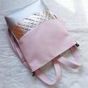 3 in1 ezüst-rózsaszín hátizsák/válltáska, Egy újabb háromfunkciós táskát készítettem ...