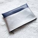 ezüst és skék női neszesszer/irattartó/erszény, Sötétkék és ezüst műbőrből készítettem e...