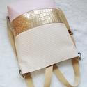 3 in1 gold-beige hátizsák/válltáska, A táskát megrendelésre készítettem ,metál ar...