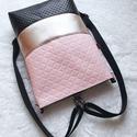 3 in1 rózsaszín, ezüst feketével hátizsák/válltáska, Rendelésre készült. Háromfunkciós táska  ste...