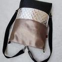 3 in1 sötét ezüst feketével hátizsák/válltáska, Egy újabb háromfunkciós táskát készítettem ...