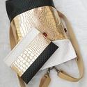3 in1 gold hátizsák/válltáska neszesszerrel, Megrendelésre készült háromfunkciós táska ar...