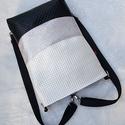 3 in1 gyöngyház fehér, ezüst feketével hátizsák/válltáska, Egy újabb háromfunkciós táskát készítettem ...