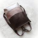 Wave_3in1 beige-bronz hátizsák/válltáska, Egy újabb háromfunkciós táskát készítettem ...
