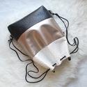 3 in1 fekete-fehér-platina hátizsák/válltáska, Nyomott mintás gyöngyház fényű fehér műbőr...