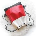 3 in1 fekete-fehér-piros hátizsák/válltáska, Táska, Válltáska, oldaltáska, Dombornyomott mintás gyöngyház fényű fehér műbőr,fekete nyomott mintás műbőr piros színű műbőr felha..., Meska