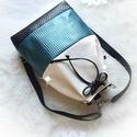 Bow türkiz_nagy méretben-többfunkciós 3 in1hátizsák/válltáska, Táska, Válltáska, oldaltáska, Fehér csillámos, gyöngyház fényű dombornyomott türkiz és fekete műbőrből készítettem ezt a női táská..., Meska