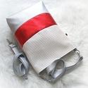 Wave 3in1 metál piros-ezüst és fehér hátizsák/válltáska, Táska, Válltáska, oldaltáska, Egy újabb háromfunkciós táskát készítettem dombornyomott fehér,metál fényű piros és ezüst műbőrből. ..., Meska