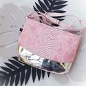 Drop_ kistáska tükörfényes ezüst és rózsaszín, Táska, Divat & Szépség, Táska, Válltáska, oldaltáska, Kiválló minőségű,tükörfényes műbőrből  és rózsaszín kígyóbőr mintás műbőrből készítettem ezt a kistá..., Meska