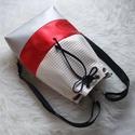 Bow többfunkciós 3 in1hátizsák/válltáska , Táska, Divat & Szépség, Táska, Válltáska, oldaltáska, Fehér dombornyomott műbőrből,metál fényű piros és ezüst műbőrből készítettem ezt a női táskát,amit h..., Meska