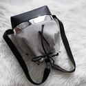 Bow_kis méretben-többfunkciós 3 in1hátizsák/válltáska, Táska, Divat & Szépség, Táska, Válltáska, oldaltáska, Szürke kígyóbőr mintás műbőrből,tükörfényes ezüst és  fekete műbőrből készítettem ezt a női táskát,a..., Meska
