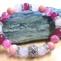 Lelki egyensúly- nőiesség karkötő, Ékszer, Karkötő, Színe: Rózsaszín, Pink, ezüstös Anyaga: Rózsakvarc, pink-fukszia Jade, Rózsaszín-pink Hegyikristály,..., Meska