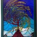 """Szélfútta szomorúfűz üvegkép, Dekoráció, Otthon, lakberendezés, Kép, Falikép, Festett tárgyak, Üvegművészet, """"Tiffany"""" stílusban festett nagyméretű üvegkép 60x80 cm.Egyedi asztalosmunka a fa keretezés, vastag..., Meska"""
