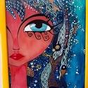 """Hableány üvegkép, Dekoráció, Otthon, lakberendezés, Kép, Festett tárgyak, Üvegművészet, Speciális olasz üvegfestékkel festett 30x40 cm üvegkép. """"Lányok"""" sorozat egyik kedvenc darabja. Apr..., Meska"""