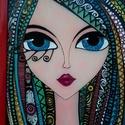 """Szivárvány-lány üvegkép, Dekoráció, Otthon, lakberendezés, Kép, Falikép, Speciális olasz üvegfestékkel készült 30x40 cm , a """"Lányok"""" sorozat egyik darabja. , Meska"""