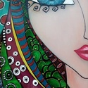 """Álom-lány üvegkép, Dekoráció, Otthon, lakberendezés, Kép, Falikép, Festett tárgyak, Üvegművészet, Speciális üvegfestékkel készült üvegkép, a """"Lányok"""" sorozat egyik darabja. Aprólékosan kidolgozott,..., Meska"""