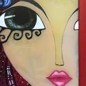 """Tavasz-lány üvegkép, Dekoráció, Otthon, lakberendezés, Falikép, Festett tárgyak, Üvegművészet, Speciális üvegfestékkel készült 30x40 cm """"Lányok"""" sorozat egyik darabja. Aprólékos kidolgozás, vidá..., Meska"""