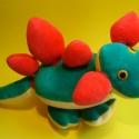 Tépőzáras sárkány, Játék, Készségfejlesztő játék, Játékfigura, Plüssállat, rongyjáték, Tépőzáras plüss építő, variálható textiljáték. 30x15 cm , Meska