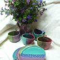 Virágos szép napot készlet :), Mindenmás, Esküvő, Nászajándék, Kerámia, A készlet 4db lapos tányért(átmérője kb:21),4 db bögrét(kb:3,5dl), és egy kb 1,5 literes kancsót ta..., Meska