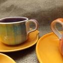 görbe, szivárványos presszókávés  készlet :), Konyhafelszerelés, Esküvő, Bögre, csésze, Nászajándék, Kerámia, 6db csészét és 6 db. alátétet tartalmaz a készlet, a csészék körülbelül 1,5 dl-esek. Ezeket az edén..., Meska