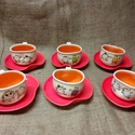 görbe presszókávés  készlet :), Konyhafelszerelés, Esküvő, Bögre, csésze, Nászajándék, Kerámia, 6 db csészét tartalmaz a készlet, amelyek körülbelül 1,5dl-esek és 6 db alátétet. Ezeket az edények..., Meska