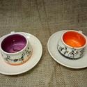Hangyás csészepár :), Esküvő, Mindenmás, Nászajándék, Kerámia, 2db. kb.1,5  dl-es csésze 2 db. alátéttel. Ezeket az edényeket, családi vállalkozásunkban (18 éve m..., Meska