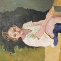 Akril kép vásznon, Művészet, Festmény, Akril, Festészet, William-Adolphe Bouguereau kedves, bájos életképének akril másolata. A gondtalan gyermeki lét méltó..., Meska