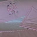 Baba ágynemű a Hercegnőnek, Baba-mama-gyerek, Baba-mama kellék, Gyerekszoba, Falvédő, takaró, Varrás,  Hercegnői várat applikáltunk erre a finom,halvány rózsaszin takaróra.  Takaró:90x120cm  Párna:35x4..., Meska