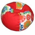 Piros-virágos gömböc babzsi, Bútor, Dekoráció, Mindenmás, Otthon, lakberendezés, Nagyon mutatós babzsi, 6 cikkes gömböc formájú. Dupla huzatos, belül is erős anyagból készült, utánt..., Meska