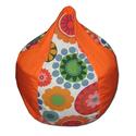 Narancs-virágos mini csepp babzsák, Bútor, Otthon, lakberendezés, Babzsák, Csepp alakú, hat cikkből álló fotel, kisebb méretben. 9-10 éves korig ajánlom, nagyon kényelmes fazo..., Meska